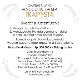 Catat tanggalnya !!!! Daftar ulang anggota lama Ikapesta  Periode 2 Juni – 22 Juni 2017  Untuk formulir bisa download diwebsite : www.ikapesta.com  Atau instal aplikasi ikapesta di playstore ( Android