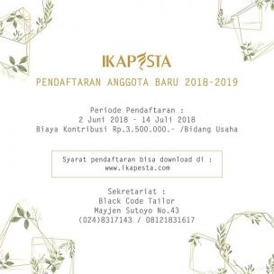 PENDAFTARAN ULANG ANGGOTA BARU Periode 2018-2019 (Link di bio 👆) . . Periode Pendaftaran : 2 Juni – 14 Juli 2018 Biaya Kontribusi : Rp 3.500.000,- / Bidang Usaha . . Syarat pendaftaran bisa di download di www.ikapesta.com . . Check this post here:  http://ikapesta.com/download/form-pendaftaran-vendor-baru-2018/