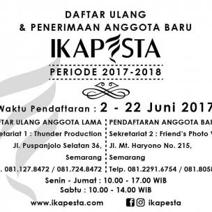 Untuk formulir bisa download diwebsite : www.ikapesta.com  Atau instal aplikasi ikapesta di playstore ( Android )  Nb: mohon vendor yang mendaftar memperhatikan syarat pendaftaran anggota di formulir pendaftaran