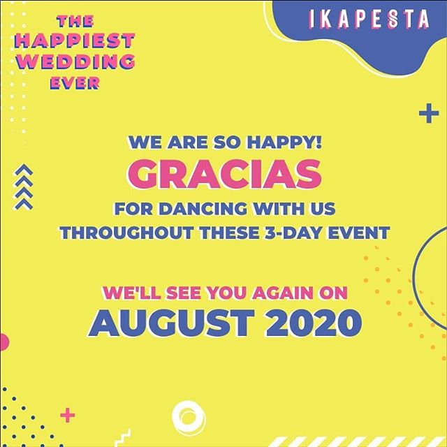 𝗪𝐄 𝐀𝐑𝐄 𝐒𝐎 𝐇𝐀𝐏𝐏𝐘! ⁣ ⁣ Gracias for dancing with us throughout the 3-day event. See you again on August 2020⁣⁣⁣⁣ ⁣⁣⁣⁣⁣⁣⁣⁣ 𝐓𝐡𝐞 𝐇𝐚𝐩𝐩𝐢𝐞𝐬𝐭 𝗪𝐞𝐝𝐝𝐢𝐧𝐠 𝐄𝐯𝐞𝐫⁣⁣⁣⁣⁣⁣⁣⁣ 𝐌𝐨𝐝𝐞𝐫𝐧 𝗪𝐞𝐝𝐝𝐢𝐧𝐠 𝐒𝐭𝐨𝐫𝐞⁣⁣⁣⁣⁣⁣⁣⁣ 𝘍𝘦𝘣𝘳𝘶𝘢𝘳𝘺 𝟷𝟺-𝟷𝟼, 𝟸𝟶𝟸𝟶.⁣⁣⁣⁣⁣⁣⁣⁣ 𝘕𝘦𝘸 𝘗𝘙𝘗𝘗 𝘊𝘰𝘯𝘷𝘦𝘯𝘵𝘪𝘰𝘯 𝘏𝘢𝘭𝘭⁣⁣⁣⁣⁣⁣⁣⁣ ⁣⁣⁣⁣⁣⁣⁣⁣ Ikapesta Modern Wedding Market 2020 | Decoration by @luckydekor | Lighting by @technolighting | Sound & LED Screen by @thunder_production | Photography by @insideme.photography | Videography by @friendsphotovideo | Organized by @topeng_eo