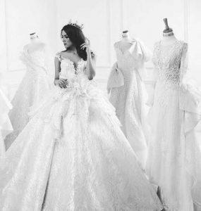 Salah satu gaun karya Jimmy Fei-Fei Bridal dengan butik